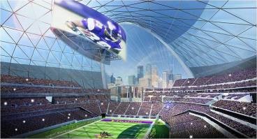 An early rendering of what the new Vikings stadium may look like.  Many features described in the Environmental Impact Statement are consistent with this drawing.