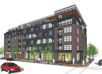 District 600 is a 78-unit apartment project that broke ground Monday, June 17 next to the Fulton Brewing Co. in Minneapolis' North Loop neighborhood.